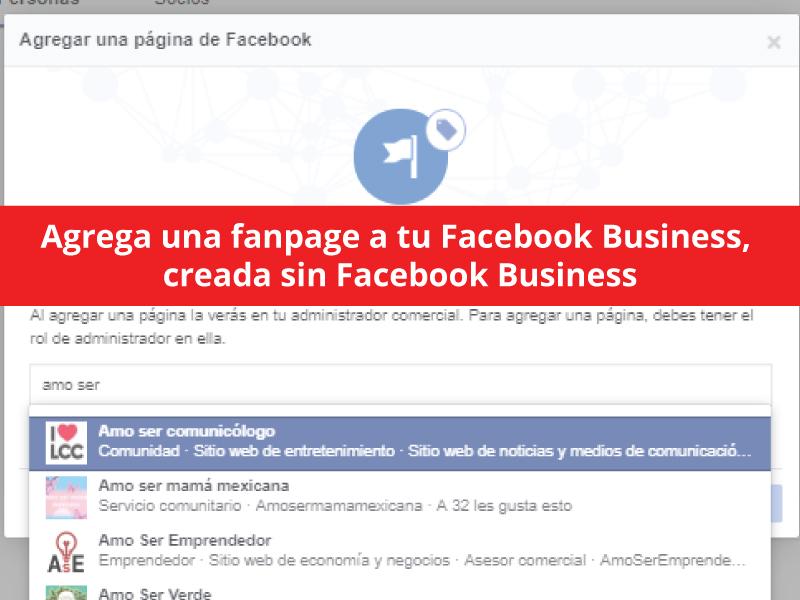 agregar una fanpage a facebook business